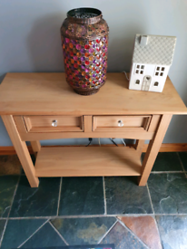 Pine hall table with two drawers