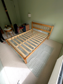 Pine wooden double bed
