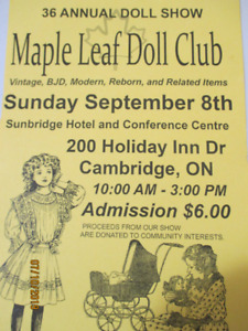 Maple Leaf Doll Show in Cambridge Sunday, September 8th, 2019