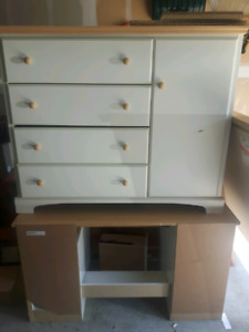 Dresser with matching desk and mirror