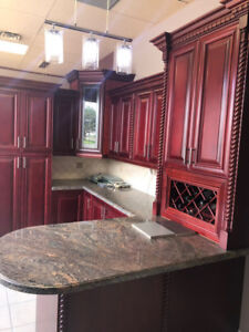 Solid stained kitchen with high end granite countertop