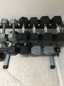 NICE SET OF DUMBBELLS AND RACK HOLDER