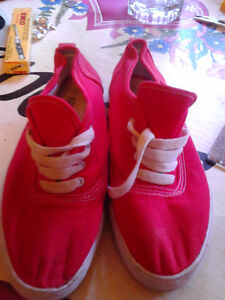 high point red canvas shoes just like new