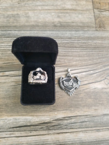 Harley Davidson sterling silver ring and pendant