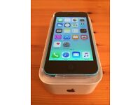 Boxed blue iPhone 5c (unlocked, free delivery, excellent condition)