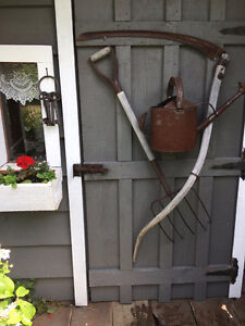 Antique Garden Pitch Fork, Sickle & Watering Can