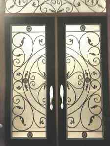 Door Glass inserts Stained glass wrought iron