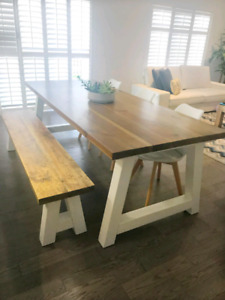 Modern Solid Wood Dining Table with Bench