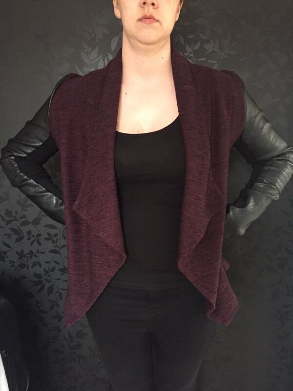 New Look Size 12 Red Faux Leather Waterfall Jacket In Leicester