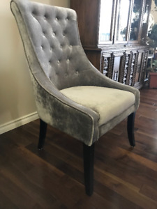 Two Grey Velvet Side Chairs