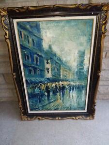 LARGE --ARTIST SIGNED OIL PAINTING PARIS STREET SCENE