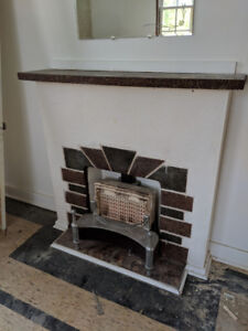 Antique, Stone, Gas Fireplace