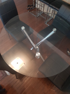 Dinning Table - Glass Round Dining Set for 4, 5 PC