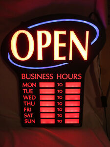 Bright - LED - Open Sign with Hours - New Condition