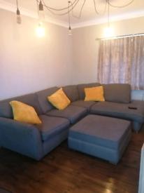 Huge grey corner settee CuddleChair and foot stool