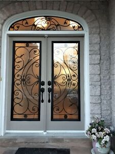 Stained Glass Wrought iron glass inserts door glass at Wholesale