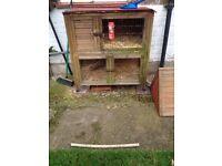Double storey rabbit hutch and run