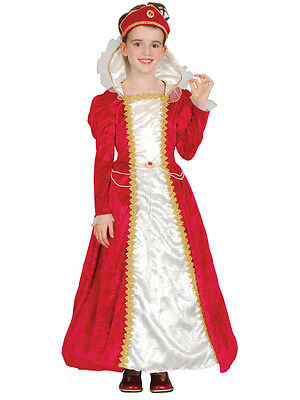 Red Tudor Princess Girl Child Fancy Dress Children Medieval Costume 3-10 Years
