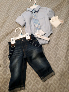 Infant jeans with shirt & tie 6months