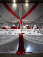 Wedding rental, backdrop, table cloth, chair cover, table,Rent