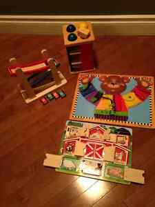 Assorted Melissa and Doug wooden toys