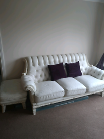 Beautiful white leather sofa set