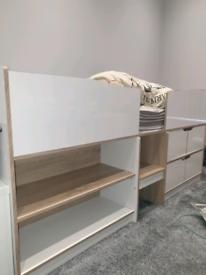 White/oak single cabin bed and mattress