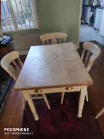 Victorian pine table and 4 chairs