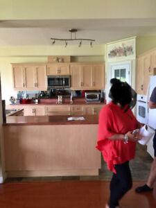 25 ft Solid Oak Kitchen cabinets/island + 4 Built-In Appliances