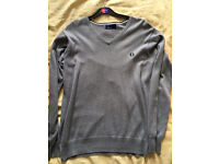 Fred Perry men's grey jumper small