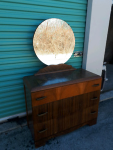 Solid Wood Antique Dresser with Mirror **Delivery Included
