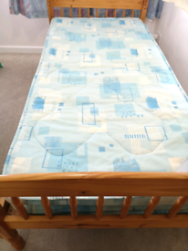 Standard single pine bed with mattress