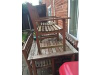 Used garden table 2 benches and 2 chairs