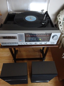 PULSER Record Player/AM/FM radio/Cassette Player with Speakers