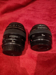 Canon 50mm 1.4 and Canon 85mm 1.8