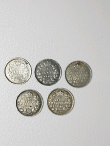 Canadian silver 5 cent coins
