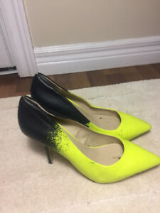Black and yellow heels