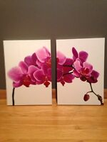 Pink Orchid Side by Side Wall Pictures