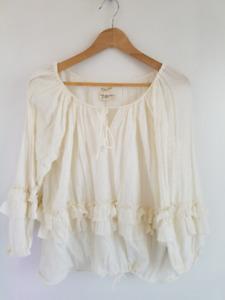 Ralph Lauren Denim Supply Boho Cotton Peasant Ruffle Top ~ Small