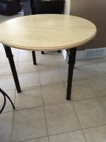 Round Wooden and Black Dining Kitchen Table for Four