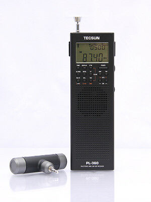 Free Shipping TECSUN  PL-360 Black PLL World Band DSP Radio with ETM AM FM SW