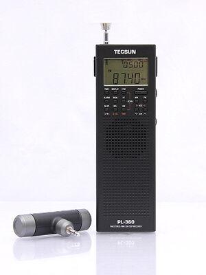 Free Shipping TECSUN  PL-360 Black PLL World Band DSP Radio with ETM AM FM SW