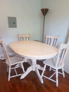Large dining room table and set of 4 chairs