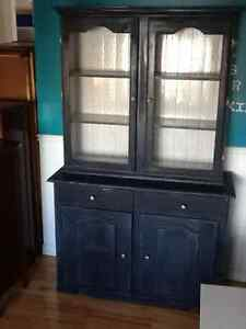 Country blue Hutch and cream console table
