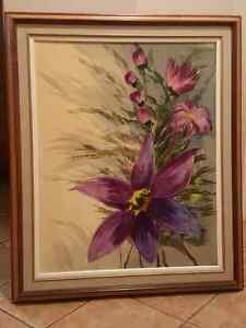 Very beautiful large framed flower painting.