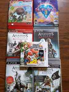 Random PS3 games and Super Smash Bros. for 3DS with SD card