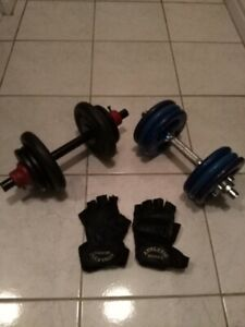 TWO DUMBBELLS + TRAINING GLOVES ($70 total price)