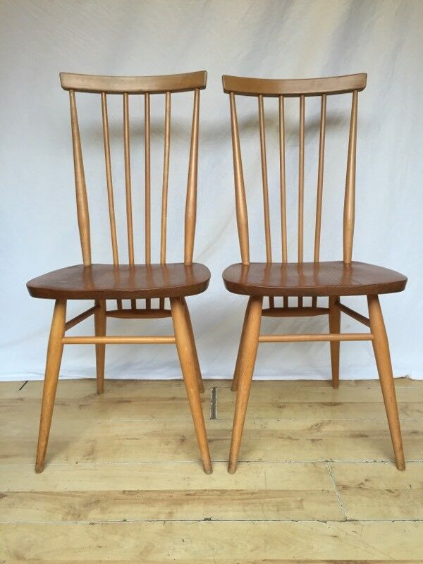 Pair Two Ercol 608 High Back Vintage Dining Kitchen Chairs