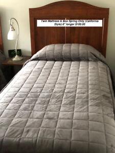 """Twin Mattess and Box Spring (California Style) 6"""" longer"""