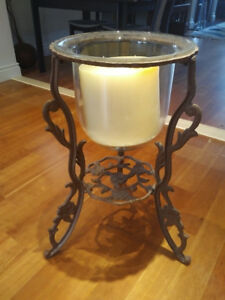 Huge Metal & Glass Floor Candelabrum (Candle Holder)